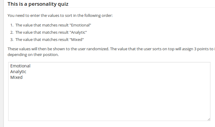Using Sorting Questions in Personality Quizzes (WatuPRO