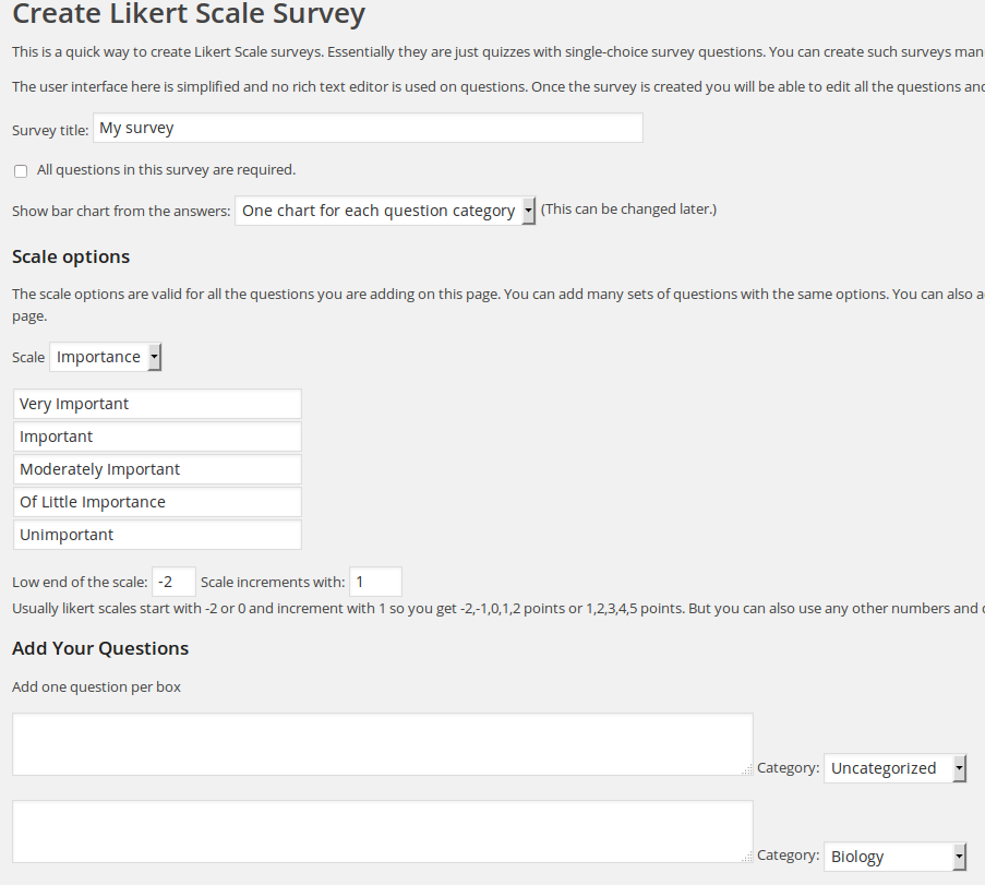 Likert scale survey maker for watupro calendarscripts blog the page allows you to create up to 8 questions at one and then add more and more with the same settings scale etc or change the scale for the next set thecheapjerseys Image collections